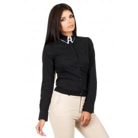 MOE košile dámská 067 dvojitý límeček černá