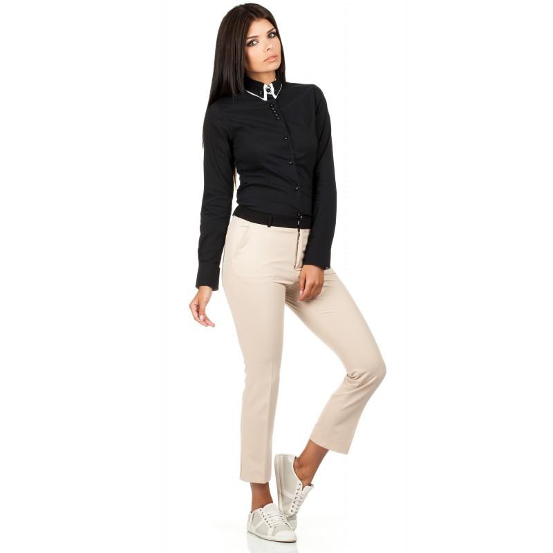 MOE košile dámská 067 dvojitý límeček černá - DG-MODA.CZ 493b82b45c