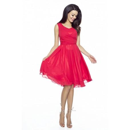 Cudowna sukienka z szyfonu KM227-1 CZERWIEŃ
