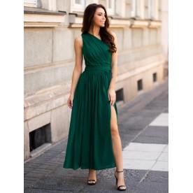 Paula- Zielona asymetryczna sukienka maksi KM320-6